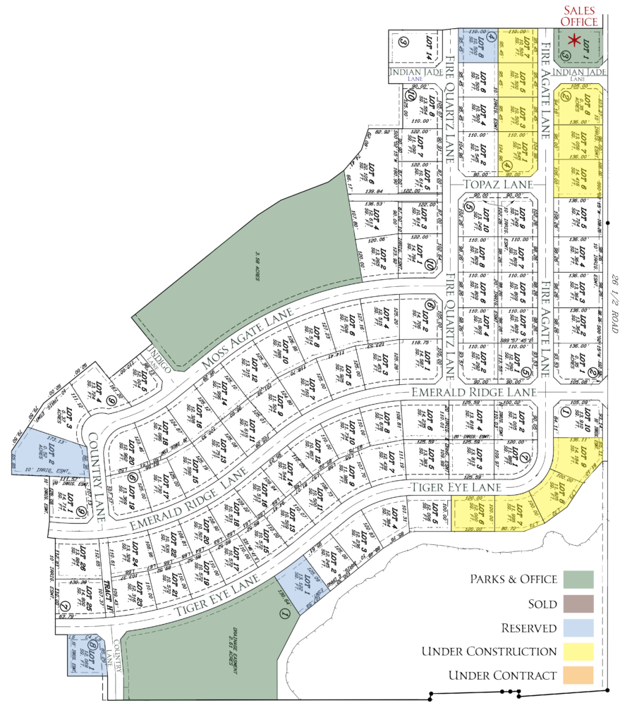 Plat mat of available lots for Emerald Ridge Estates, a new housing development in north Grand Junction, CO offering 3-5 bedroom homes.