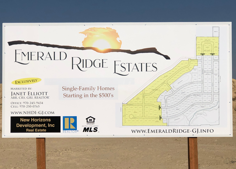 Informational sign for Emerald Ridge Estates
