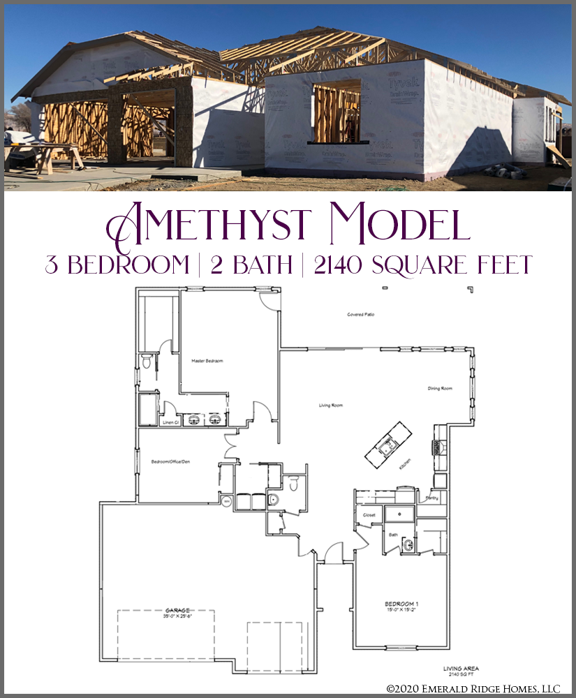 854 Fire Agate is the first of our Amethyst model. This new home offers 2 master suites, and an open concept living area. This 3 bedroom, 2.5 bath home has a covered entry, and a large covered back patio with views of the Bookcliffs and Grand Mesa.