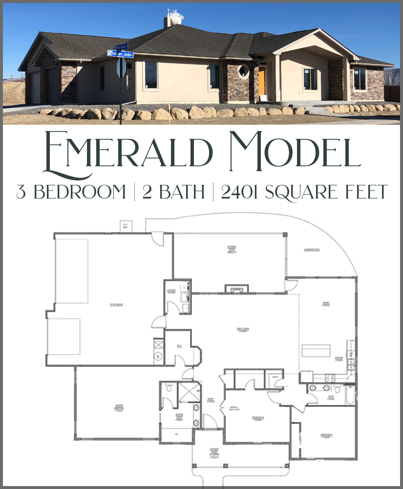 New Construction! Our Emerald Model is a 3 bedroom, 2 bath home with lots of living space. Large back patio, covered front porch, 3 car garage & RV parking. This will be our showroom, where you can choose the tile, cabinets, flooring, and other finishes for your new home in Emerald Ridge! We love helping our clients design new homes, and our goal is to make the process as smooth and easy as possible for you.