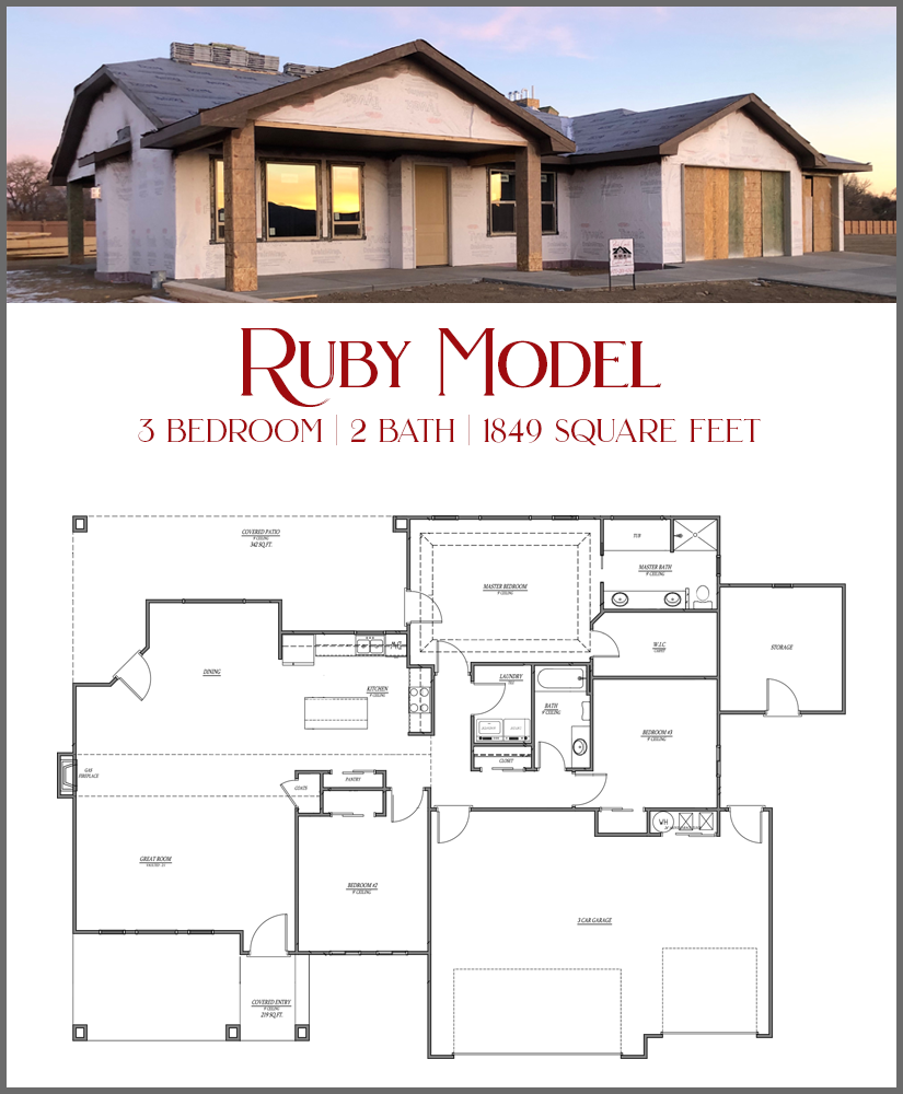 Our Ruby Model is a 3 bedroom, 2 bath home with a 3 car garage. The bedrooms are separated, and there is an attached storage unit with 10 electrical outlets, making it perfect for a workshop! Call us today to see this new home in Emerald Ridge Estates.