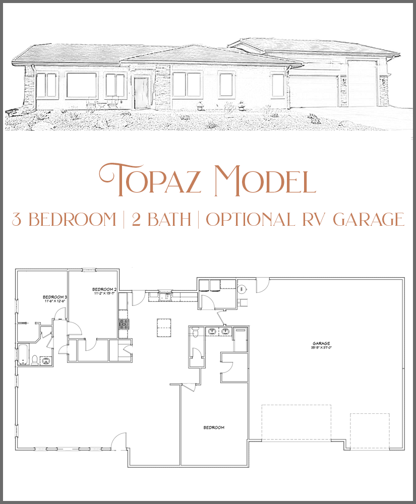 853 is the first of our Topaz model. All of these new homes will have the option of a 12'x14' RV garage door in place of the 8'x9' garage door, allowing you space to park a small RV or Sprinter Van inside your garage!