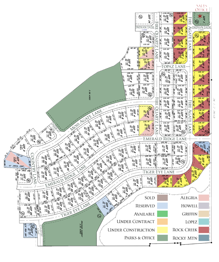 Plat map of Emerald Ridge Estates, showing the homes currently under construction or reserved, and the approved builders.