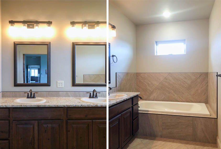 THe master bath of the Sapphire model has a soaking tub, double sink vanity, and step-in shower. There is a private toilet room.