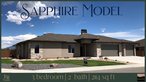 The Sapphire model is a 3 bedroom, 2 bath, 2114 square foot home with a 3-car garage. There is a covered entry, and a concrete back patio. The sapphire offers an open concept living area with high ceilings and a split bedroom design.