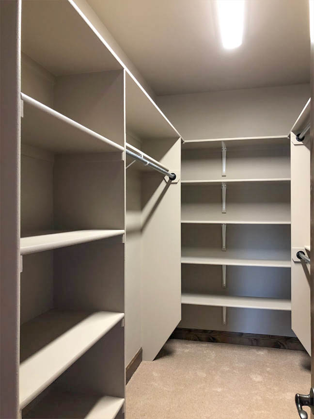 The walk in closet in the Ruby includes shelving and hanging space.