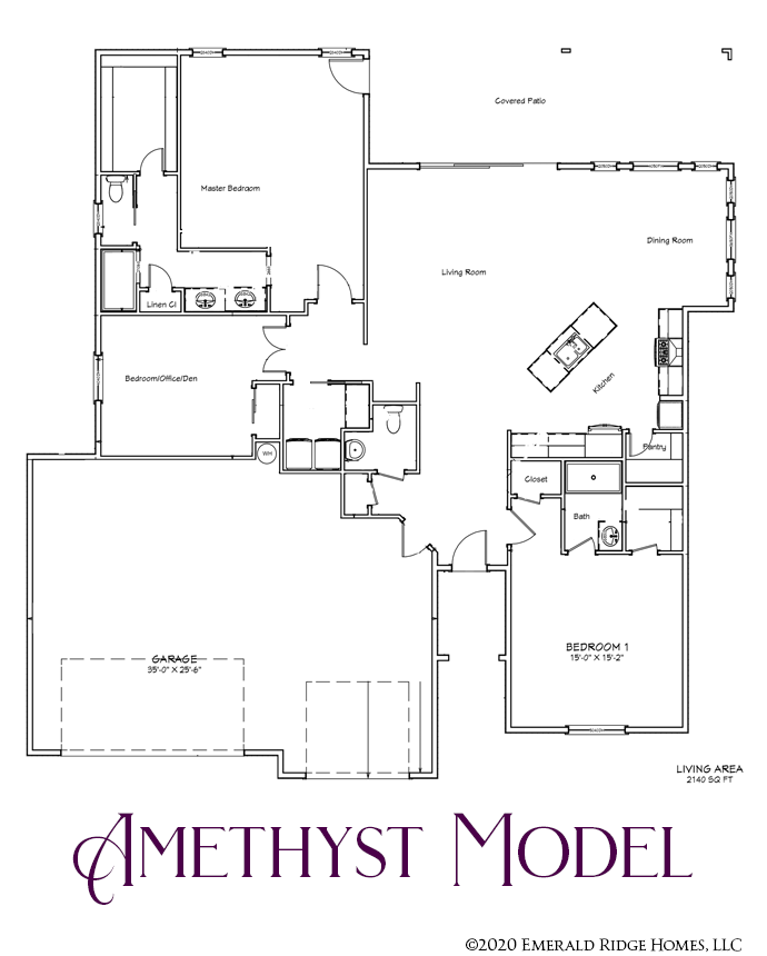 The Amethyst model in Emerald Ridge Estates is a 2140 square foot 3 bedroom, 2½ bath home with double master suites and a large covered patio.