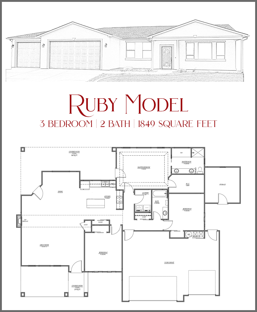 Floor plan and artist sketch for the Ruby Model, a home available in Emerald Ridge Estates in Grand Junction, CO.