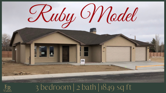 The Ruby Model is an 1849 square foot 3 bedroom, 2 bath home with a bonus 150 square foot storage room accessible from outside.