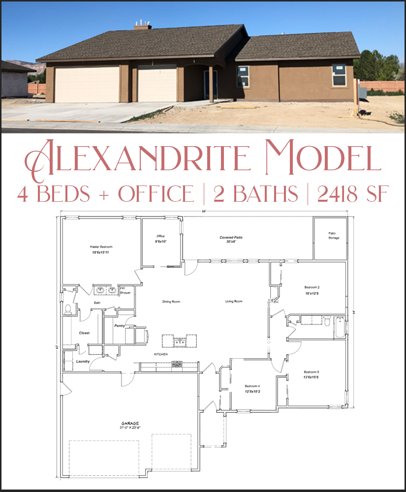 The Alexandrite model has 3 variations, all with 4 bedrooms and an attached storage shed off of the patio.