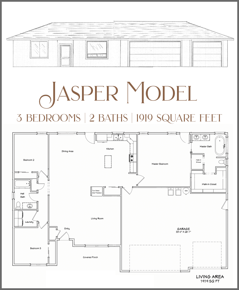 The Jasper model is a smaller 3 bedroom, 2 bath home, with a 3-car garage.