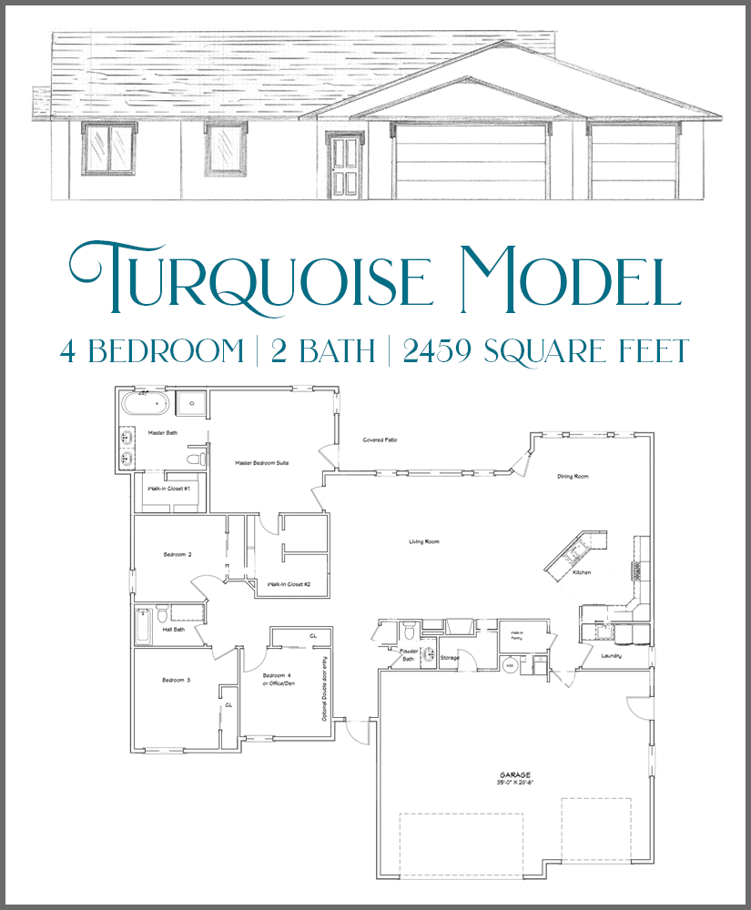 The Turquoise model is a 4 bedroom, 2½ bath home.