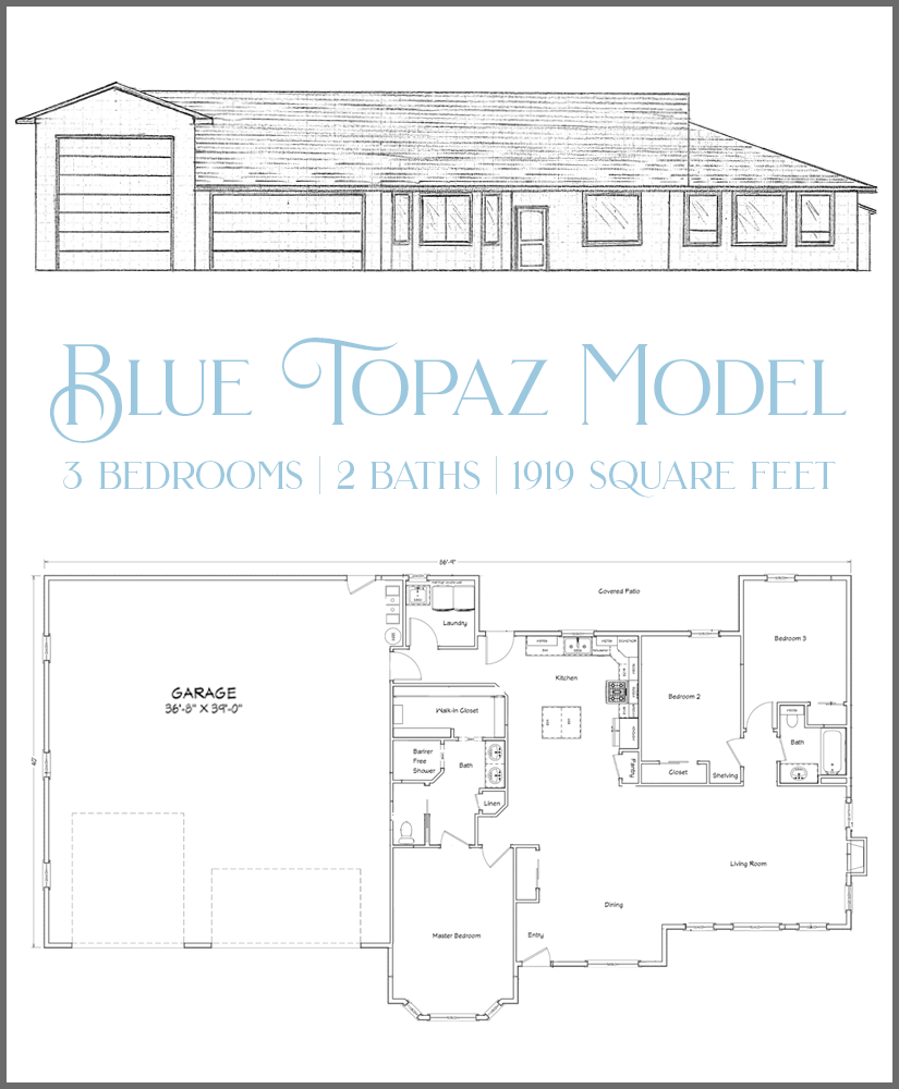 The Blue Topaz is one of the RV garage models. Offering 3 bedrooms, 2 baths, and an open living area.