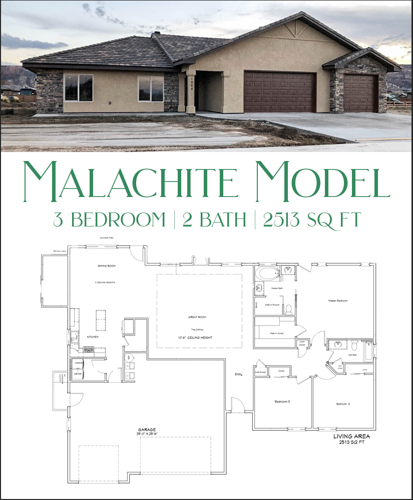 The malachite is a 3 bedroom, 2 bath home with an attached storage shed on the back.