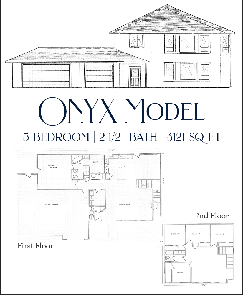 Our Onyx Model is a 3121 square foot 5 bedroom, 2½ bath home with the master on the main level.
